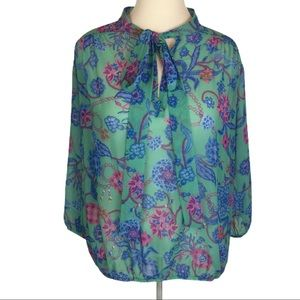 Sweet pea Stacy Frati blue green sheer blouse top